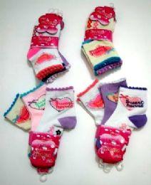 "96 Units of Girls ""sweet Heart"" Quarter Socks, Size 4 Years To 6 Years, Assorted Styles - Girls Crew Socks"
