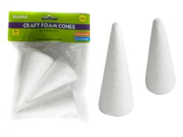 "96 Wholesale 3 Pc Craft Foam Cones Size: 4"" H Each"