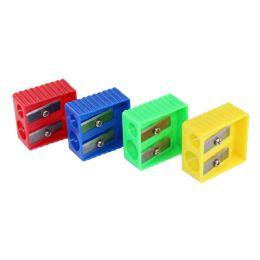 240 Bulk Kids 2 Hole Pencil Sharpener In 4 Assorted Colors