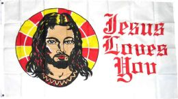 """24 Units of 3' X 5' Polyester Flag, """"jesus Loves You"""", With Grommets - Flag"""