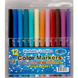 48 Bulk Thin Tip Washable Markers - 12 Count