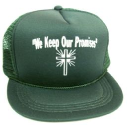 """48 Wholesale Youth Mesh Back Printed Hat, """"we Keep Our Promises"""", Assorted Colors"""