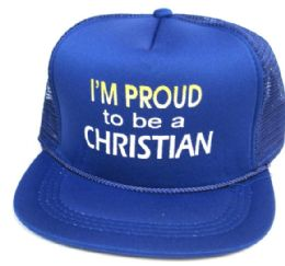 """48 Wholesale Youth Mesh Back Printed Hat, """"i'm Proud To Be A Christian"""", Assorted Colors"""