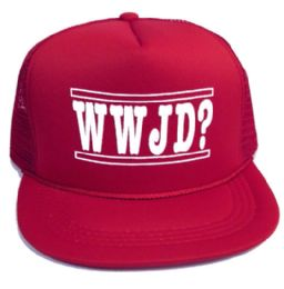 """48 Wholesale Youth Mesh Back Printed Hat, """"wwjd?"""", Assorted Colors"""