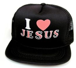 """48 Wholesale Youth Mesh Back Printed Hat, """"i Love Jesus"""", Assorted Colors"""