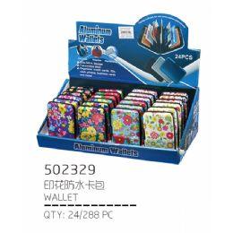 72 Bulk Floral Print Aluminum Wallet / Card Holder