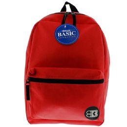 "12 Units of 16"" Red Basic Backpack - Backpacks 16"""