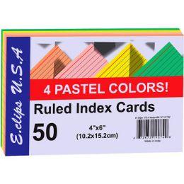 60 Bulk Index Cards - Pastel Asst. Colors - 4x6- 50 ct