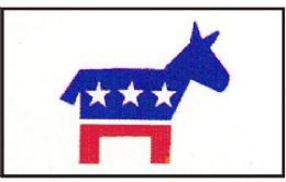 12 Units of 3' X 5' Polyester Flag, Democratic, With Grommets - Flag