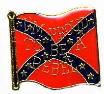 """96 Units of Brass Hat Pin, Rebel Flag, """"i'm Proud To Be A Rebel"""" - Hat Pins & Jacket Pins"""