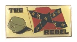 """96 Units of Brass Hat Pin, """"the Rebel"""" With Flag And Cap - Hat Pins & Jacket Pins"""