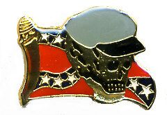 96 Units of Brass Hat Pin, Rebel Flag With Skull And Cap - Hat Pins & Jacket Pins
