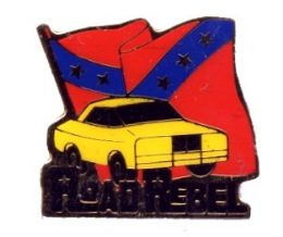 """96 Units of Brass Hat Pin, """"road Rebel"""", Rebel Flag With/ Car, - Hat Pins & Jacket Pins"""