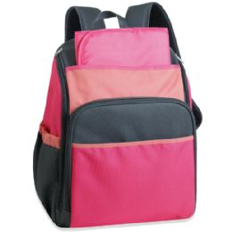 24 Wholesale 17 Inch Pink Color Block Diaper Backpack