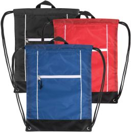 48 Units of 18 Inch Front Zippered Drawstring Bag - 3 Color Assortment - Draw String & Sling Packs