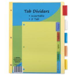 96 Wholesale 5 Pack Tab Dividers