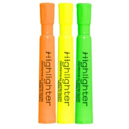96 Bulk 3 Pack Of Highlighters - Assorted Colors