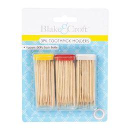 48 Units of 3 Pack Toothpick Holder - Toothpicks