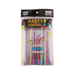 48 Units of 200 Pack Party Central Flexible Neon Straw - Straws and Stirrers
