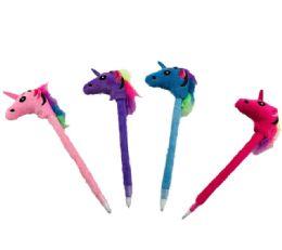 "12 Bulk 7.5"" Pen With Unicorn Top"