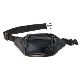 24 Units of Black Leather Fanny Pack Belt Bag - Fanny Pack