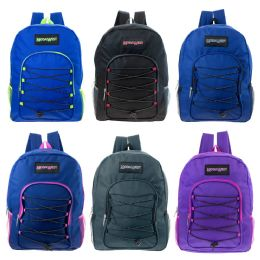"""24 Units of 16"""" Kids Padded Bungee Design Backpacks In 6 Assorted Colors - Backpacks 16"""""""
