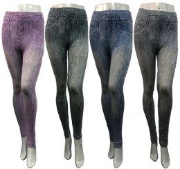 12 of Wholesale Distressed Denim Look Leggings Assorted