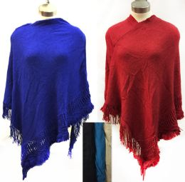 6 Units of Wholesale Knit Poncho Shawl Solid Color With Fringes - Winter Scarves
