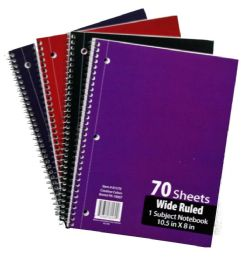 60 Bulk 1-Subject Wide Ruled School Notebooks - 70 Pages
