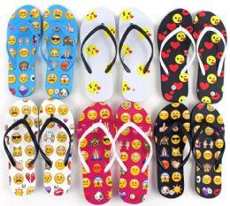 48 Units of Women's Flip Flops - Emoji Prints - Women's Flip Flops