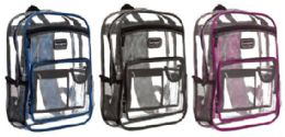 """24 Units of 16"""" Clear Backpacks - Double Compartments - Backpacks 16"""""""