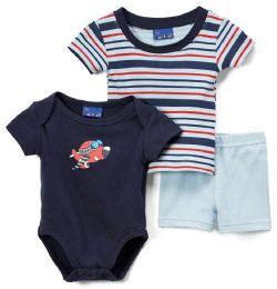 24 Units of Newborn Boy's Shorts, T-Shirt & Onesie Set - Plane Prints - Sizes 3-12m - Newborn Boys Apparel