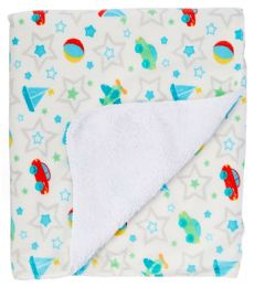 24 Units of Sherpa Lining Baby Blanket With Graphic Prints - Baby Accessories