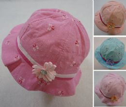 60 Wholesale Toddler Girl's Bucket Hat Mini Floral Print With Satin Flower