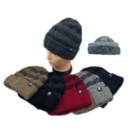 36 of Plush Lined Knit Toboggan Striped Top Solid Fold