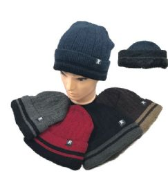 36 of Plush Lined Knit Toboggan Double Striped Fold