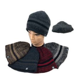 72 of Plush Lined Knit Beanie Variegated Solid Stripes