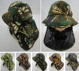 12 Units of Legionnaires Hat Hardwood Camo With Front Mesh Face Cover - Hunting Caps