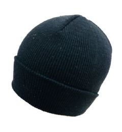 72 of Knitted Toboggan Black Only Winter Beanie Hat