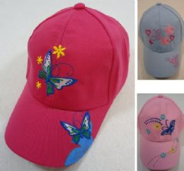 24 Wholesale Girl's Embroidered Ball Cap Butterflies