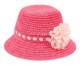 24 Wholesale Kids Paper Straw Bucket Hats With Ribbon Band And Flower