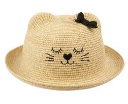 12 Wholesale Kids Paper Straw Bucket Hats