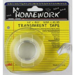 """144 Units of Stationery Tape - Clear - 1/2"""" X 800"""" - W/dispenser - Tape & Tape Dispensers"""