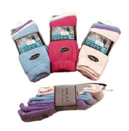 60 Bulk Womens Brushed Thermal Crew Socks 9-11 Pastel Colors