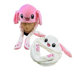24 Units of Plush Bunny Hat With Flapping Ears - Winter Animal Hats