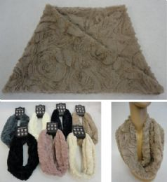 48 Units of Plush Infinity Scarf Rose Pattern - Winter Scarves