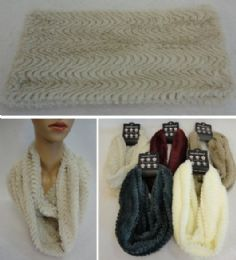 48 Units of Plush Infinity Scarf Wavy Line Pattern Double Wrap - Winter Scarves