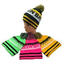 24 Units of Green Bay Pom Pom Knit Hat - Winter Beanie Hats