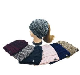 36 Units of Knitted Pony Tail Beanie Variegated - Winter Sets Scarves , Hats & Gloves