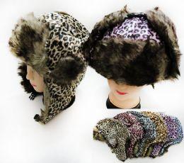 36 Bulk Unisex Faux Fur Lined Bomber Leopard Print Winter Hat